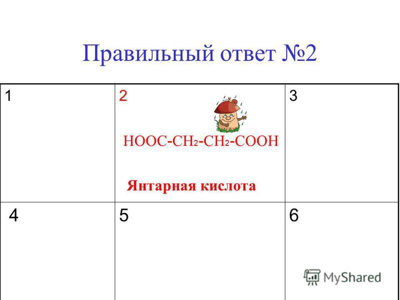 Правильный ответ 2 1 2 HOOC - CH 2 - CH 2 - COOH Янтарная кислота 3 4 5 6