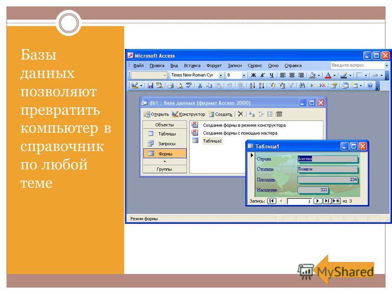 Базы данных позволяют превратить компьютер в справочник по любой теме