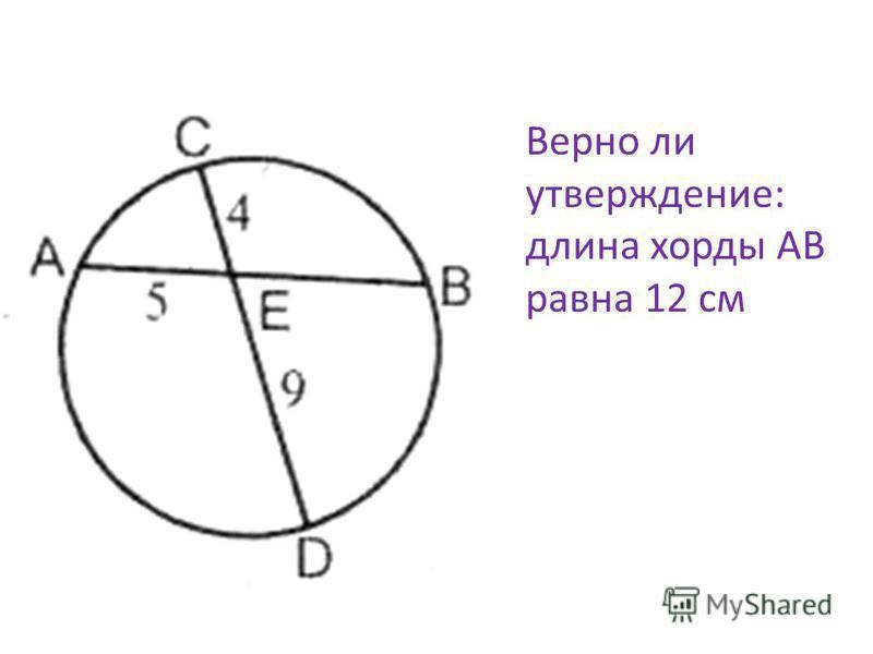 Верно ли утверждение: длина хорды AB равна 12 см