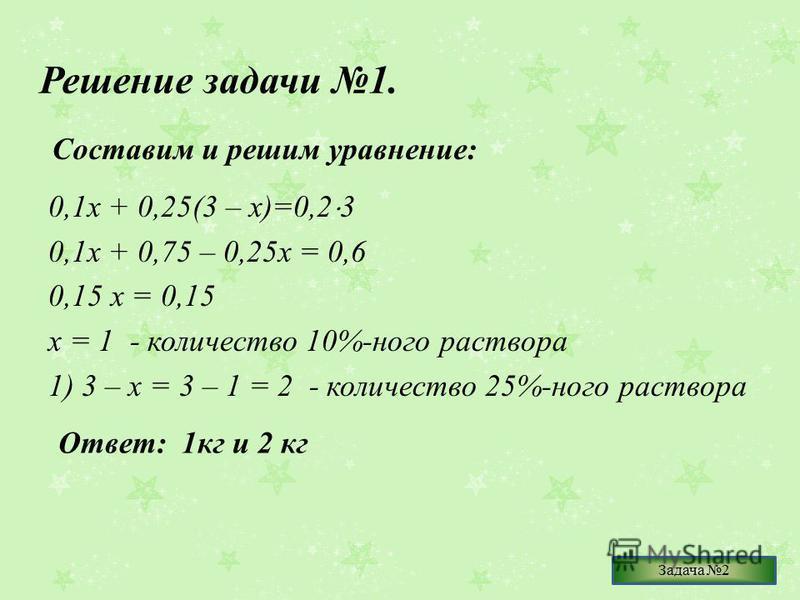 Решение задачи 1. 0,1 х + 0,25(3 – х)=0,2 3 0,1 х + 0,75 – 0,25 х = 0,6 0,15 х = 0,15 х = 1 - количество 10%-ного раствора 1) 3 – х = 3 – 1 = 2 - количество 25%-ного раствора Составим и решим уравнение: Ответ: 1 кг и 2 кг Задача 2
