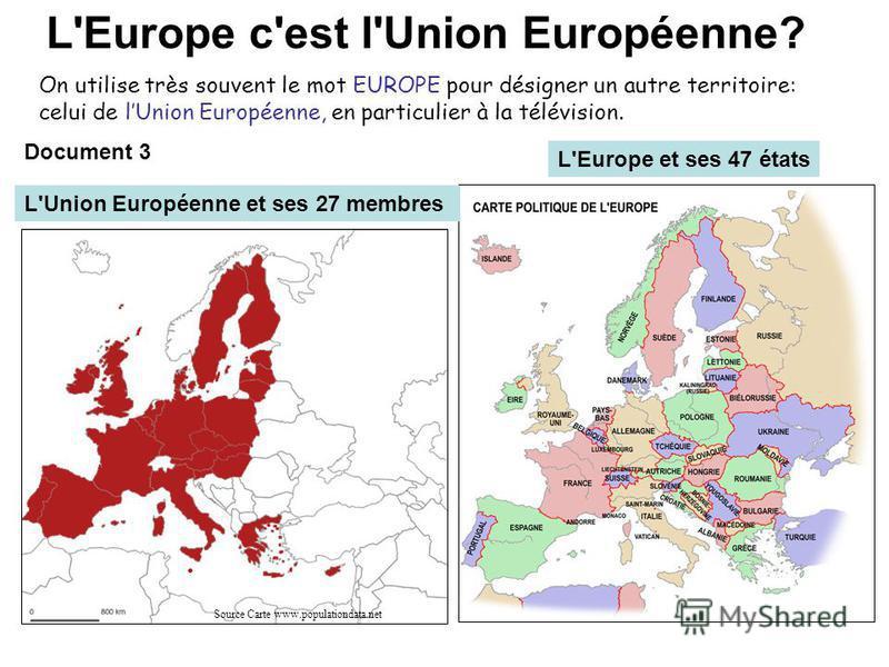 L'Europe c'est l'Union Européenne? On utilise très souvent le mot EUROPE pour désigner un autre territoire: celui de lUnion Européenne, en particulier à la télévision. Source Carte www.populationdata.net L'Europe et ses 47 états L'Union Européenne et