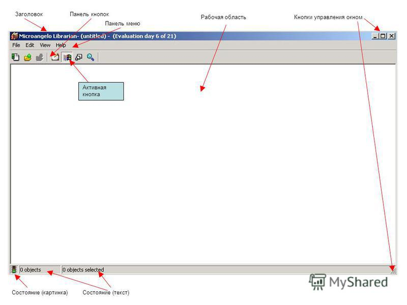 Кнопки управления окном Заголовок Панель кнопок Рабочая область Панель меню Состояние (картинка)Состояние (текст) Активная кнопка