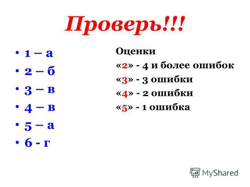 Проверь!!! 1 – а 2 – б 3 – в 4 – в 5 – а 6 - г Оценки «2» - 4 и более ошибок «3» - 3 ошибки «4» - 2 ошибки «5» - 1 ошибка