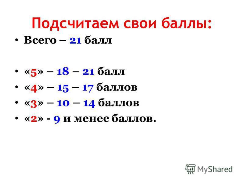 Подсчитаем свои баллы: Всего – 21 балл «5» – 18 – 21 балл «4» – 15 – 17 баллов «3» – 10 – 14 баллов «2» - 9 и менее баллов.