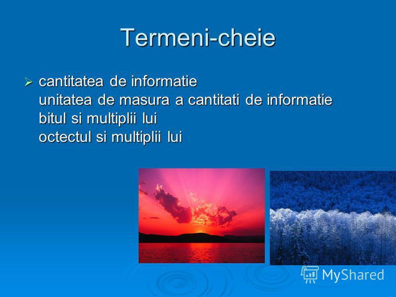 Termeni-cheie cantitatea de informatie unitatea de masura a cantitati de informatie bitul si multiplii lui octectul si multiplii lui cantitatea de informatie unitatea de masura a cantitati de informatie bitul si multiplii lui octectul si multiplii lu