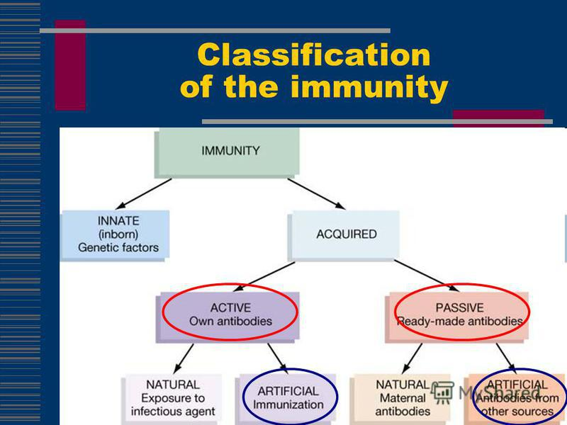 Classification of the immunity