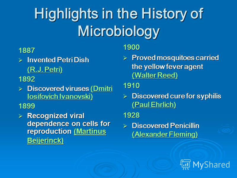 Highlights in the History of Microbiology 1887 Invented Petri Dish Invented Petri Dish (R.J. Petri) (R.J. Petri)1892 Discovered viruses (Dmitri Iosifovich Ivanovski) Discovered viruses (Dmitri Iosifovich Ivanovski)(Dmitri Iosifovich Ivanovski)(Dmitri