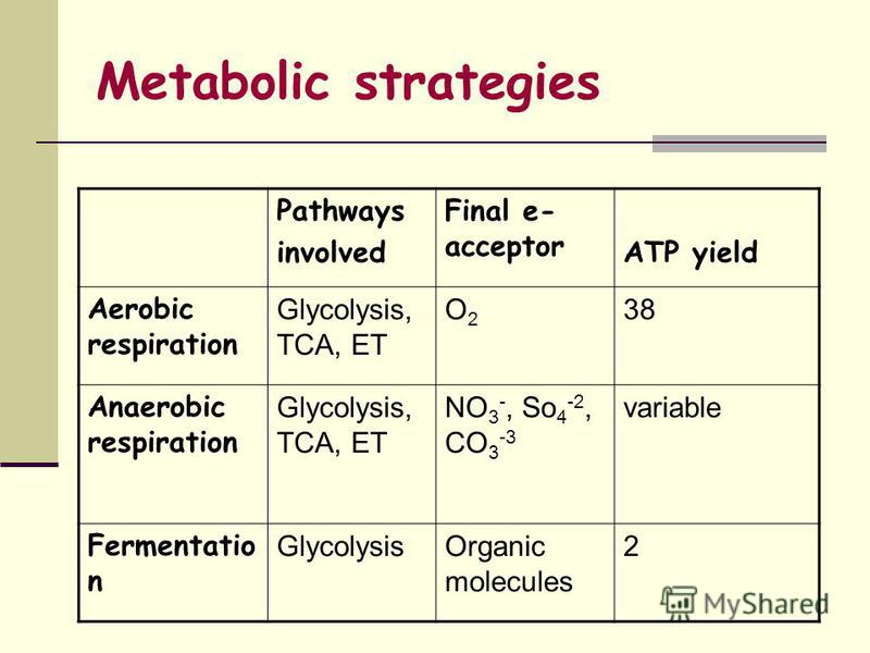 Metabolic strategies Pathways involved Final e- acceptor ATP yield Aerobic respiration Glycolysis, TCA, ET O2O2 38 Anaerobic respiration Glycolysis, TCA, ET NO 3 -, So 4 -2, CO 3 -3 variable Fermentatio n GlycolysisOrganic molecules 2