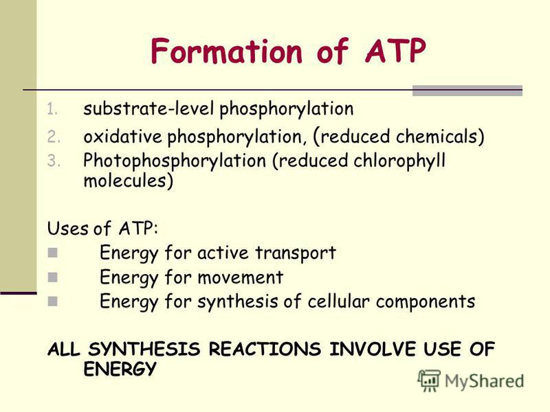 Formation of ATP 1. substrate-level phosphorylation 2. oxidative phosphorylation, ( reduced chemicals) 3. Photophosphorylation (reduced chlorophyll molecules) Uses of ATP: Energy for active transport Energy for movement Energy for synthesis of cellul