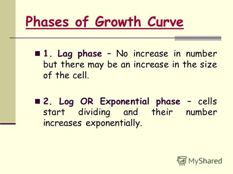 Phases of Growth Curve 1. Lag phase – No increase in number but there may be an increase in the size of the cell. 2. Log OR Exponential phase – cells start dividing and their number increases exponentially.
