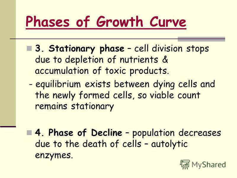 3. Stationary phase – cell division stops due to depletion of nutrients & accumulation of toxic products. - equilibrium exists between dying cells and the newly formed cells, so viable count remains stationary 4. Phase of Decline – population decreas