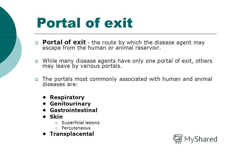 Portal of exit Portal of exit - the route by which the disease agent may escape from the human or animal reservoir. While many disease agents have only one portal of exit, others may leave by various portals. The portals most commonly associated with