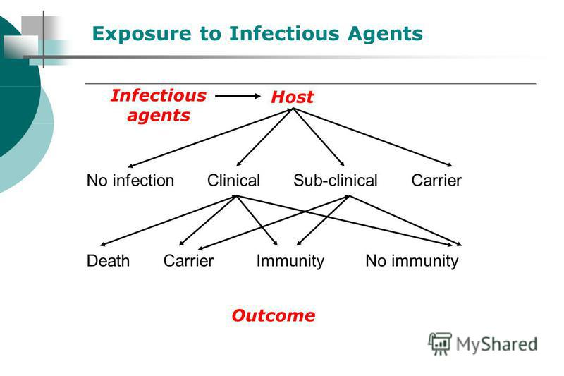 No infection Clinical Sub-clinical Carrier Death Carrier Immunity No immunity Outcome Exposure to Infectious Agents Infectious agents Host