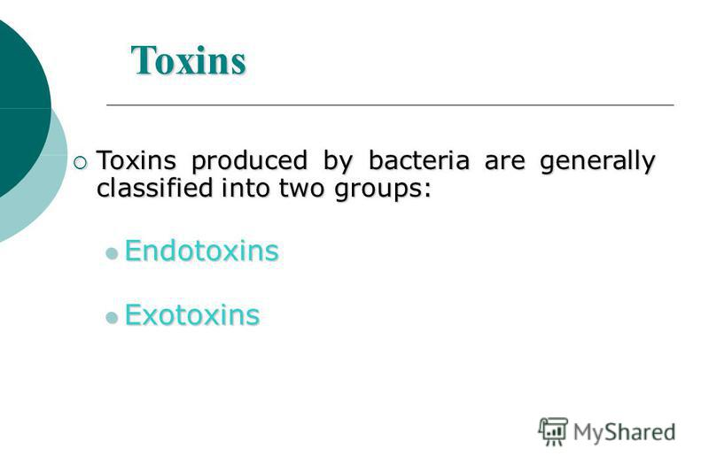 Toxins Toxins produced by bacteria are generally classified into two groups: Toxins produced by bacteria are generally classified into two groups: Endotoxins Endotoxins Exotoxins Exotoxins