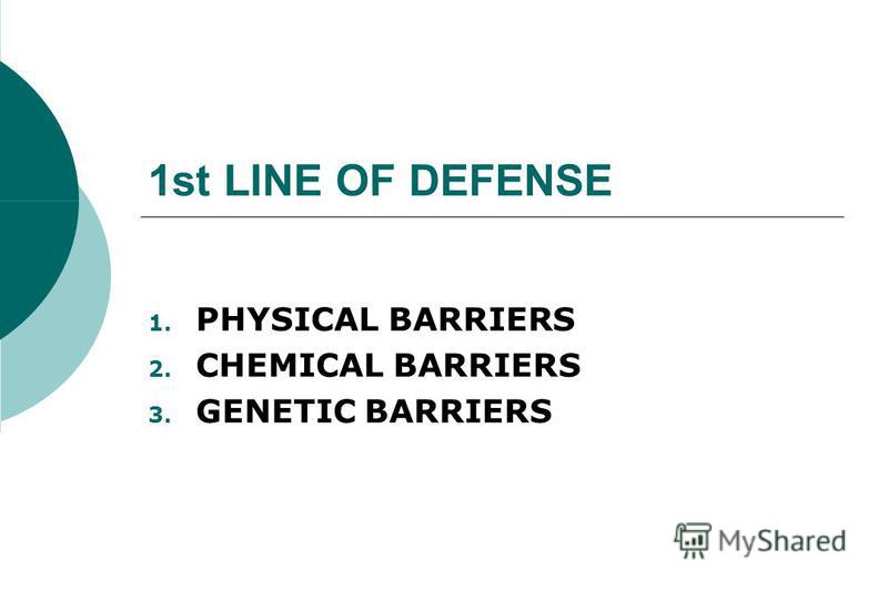 1st LINE OF DEFENSE 1. PHYSICAL BARRIERS 2. CHEMICAL BARRIERS 3. GENETIC BARRIERS