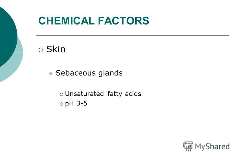 CHEMICAL FACTORS Skin Sebaceous glands Unsaturated fatty acids pH 3-5