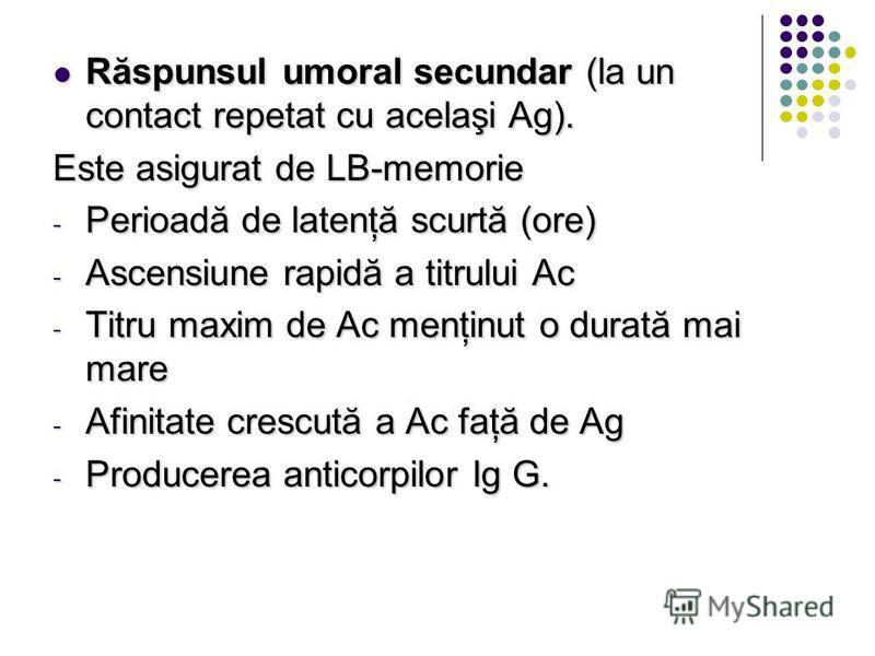 Răspunsul umoral secundar (la un contact repetat cu acelaşi Ag). Răspunsul umoral secundar (la un contact repetat cu acelaşi Ag). Este asigurat de LB-memorie - Perioadă de latenţă scurtă (ore) - Ascensiune rapidă a titrului Ac - Titru maxim de Ac men