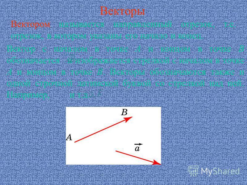 Векторы Вектором называется направленный отрезок, т.е. отрезок, в котором указаны его начало и конец. Вектор с началом в точке А и концом в точке В обозначается и изображается стрелкой с началом в точке А и концом в точке В. Векторы обозначаются такж
