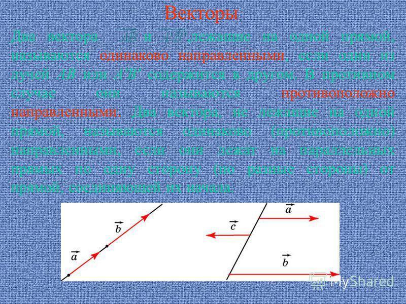 Векторы Два вектора и,лежащие на одной прямой, называются одинаково направленными, если один из лучей AB или A'B' содержится в другом. В противном случае они называются противоположно направленными. Два вектора, не лежащие на одной прямой, называются