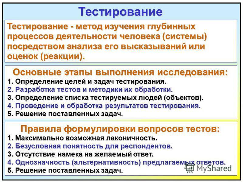Тестирование Тестирование - метод изучения глубинных процессов деятельности человека (системы) посредством анализа его высказываний или оценок (реакции). Основные этапы выполнения исследования: Основные этапы выполнения исследования: 1. Определение ц