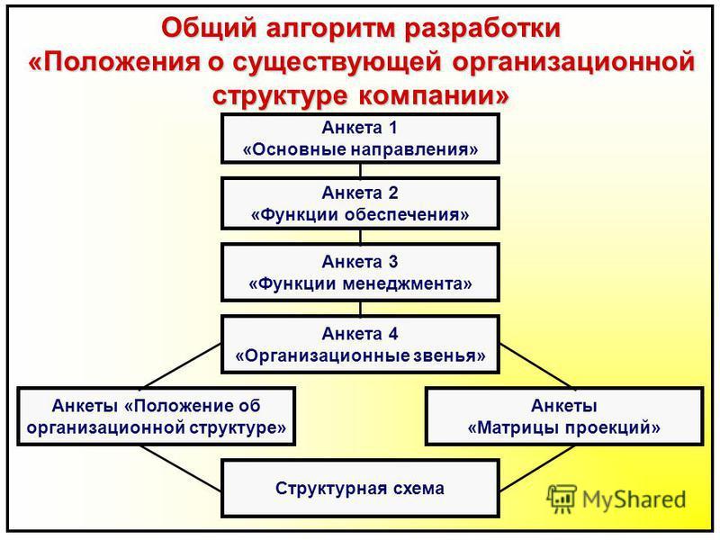 Общий алгоритм разработки «Положения о существующей организационной структуре компании» Анкета 1 «Основные направления» Анкета 2 «Функции обеспечения» Анкета 3 «Функции менеджмента» Анкета 4 «Организационные звенья» Анкеты «Положение об организационн