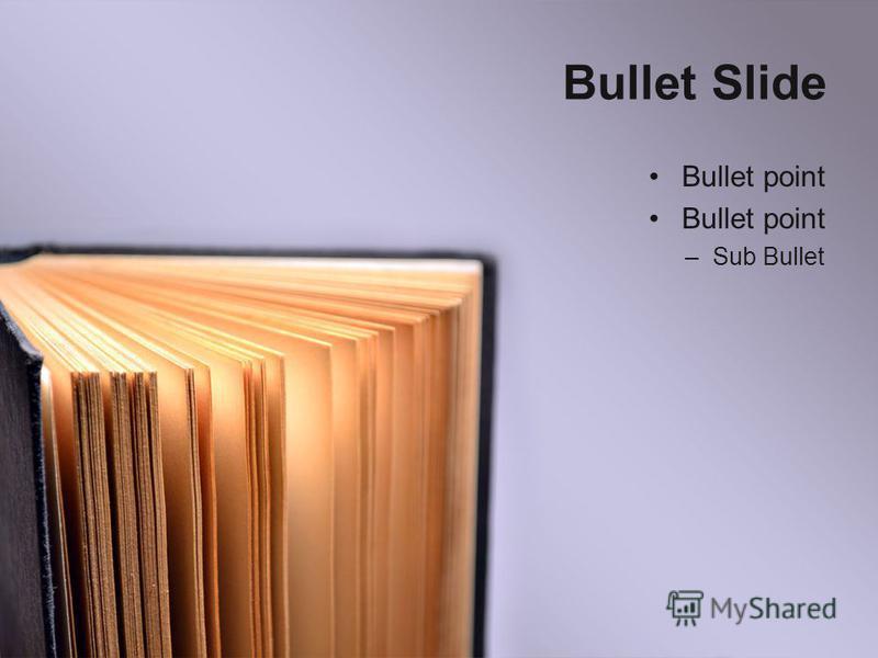 Bullet Slide Bullet point –Sub Bullet