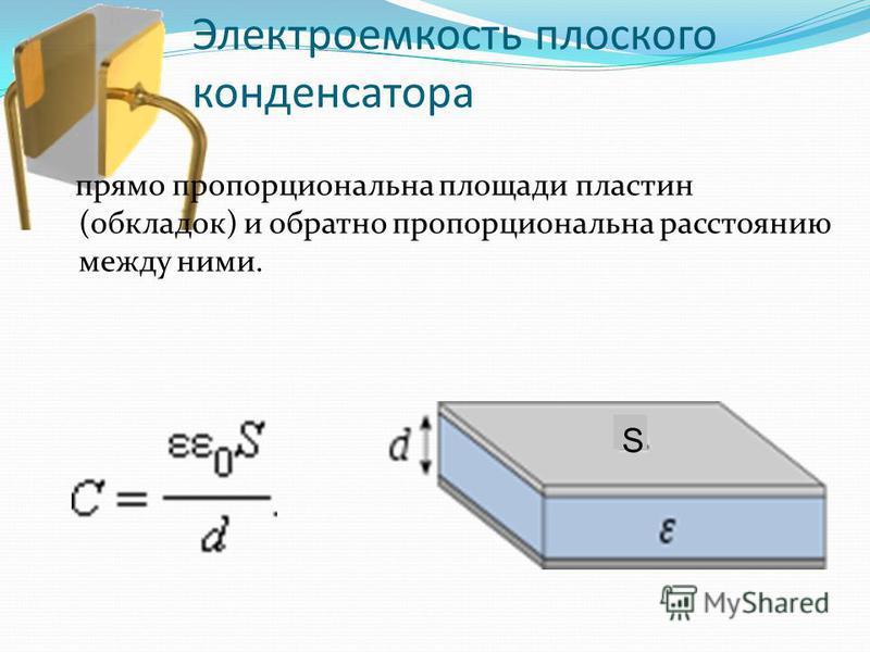 Электроемкость плоского конденсатора прямо пропорциональна площади пластин (обкладок) и обратно пропорциональна расстоянию между ними. S