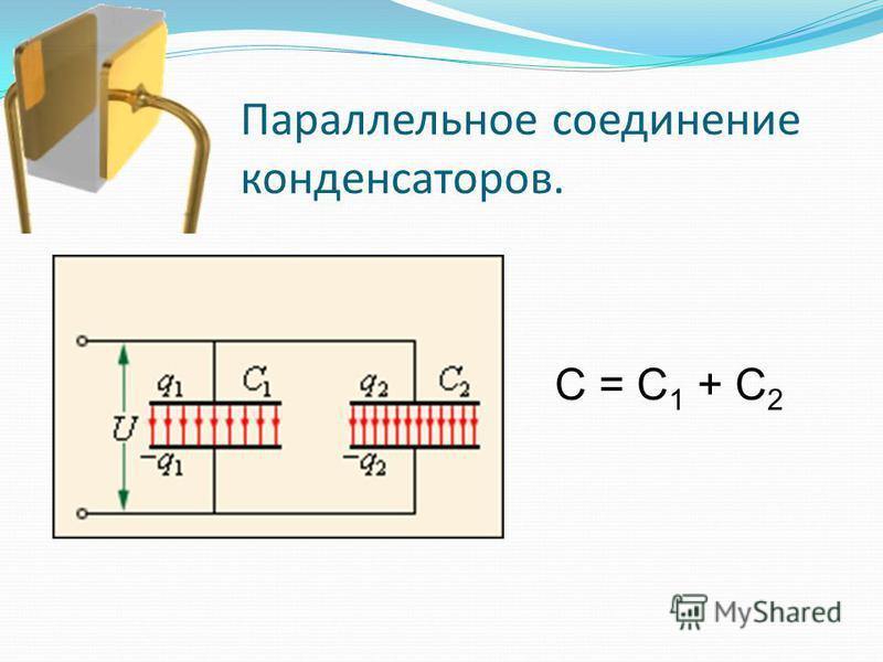 Параллельное соединение конденсаторов. C = C 1 + C 2
