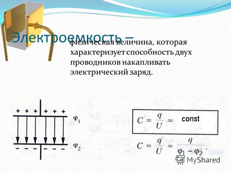 Электроемкость – физическая величина, которая характеризует способность двух проводников накапливать электрический заряд.