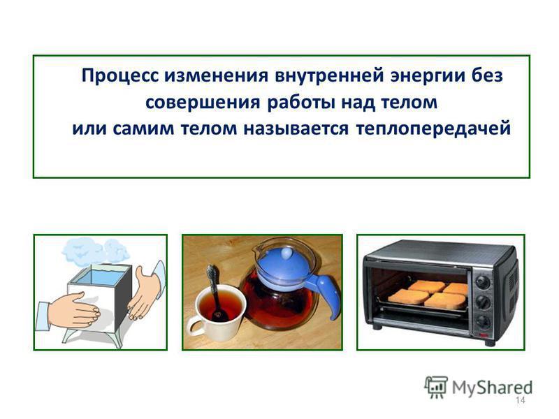 Процесс изменения внутренней энергии без совершения работы над телом или самим телом называется теплопередачей 14