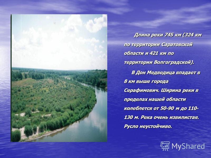 Длина реки 745 км (324 км по территории Саратовской области и 421 км по территории Волгоградской). Длина реки 745 км (324 км по территории Саратовской области и 421 км по территории Волгоградской). В Дон Медведица впадает в 8 км выше города Серафимов