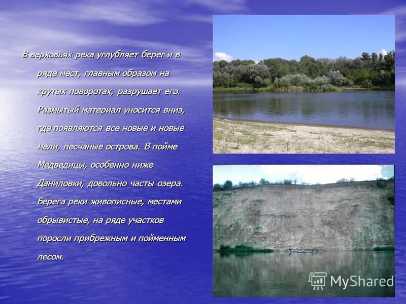 В верховьях река углубляет берег и в ряде мест, главным образом на крутых поворотах, разрушает его. Размытый материал уносится вниз, где появляются все новые и новые мели, песчаные острова. В пойме Медведицы, особенно ниже Даниловки, довольно часты о