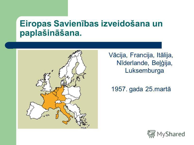 Eiropas Savienības izveidošana un paplašināšana. Vācija, Francija, Itālija, Nīderlande, Beļģija, Luksemburga 1957. gada 25.martā