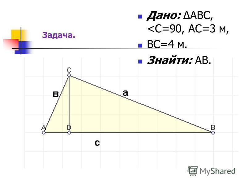 Дано: ΔАВС, <С=90, АС=3 м, ВС=4 м. Знайти: АВ. Задача.