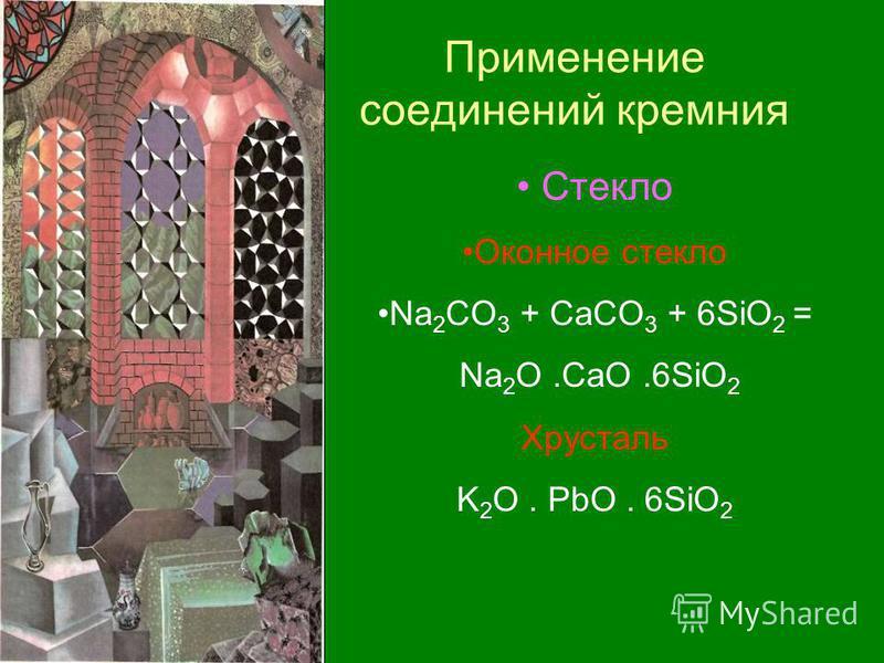 Применение соединений кремния Стекло Оконное стекло Na 2 CO 3 + CaCO 3 + 6SiO 2 = Na 2 O.CaO.6SiO 2 Хрусталь K 2 O. PbO. 6SiO 2