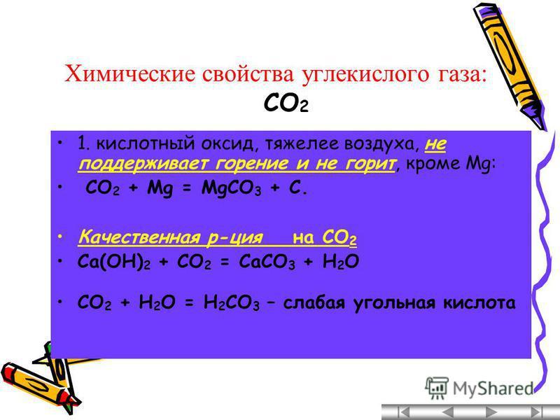 Химические свойства углекислого газа: 1. кислотный оксид, тяжелее воздуха, не поддерживает горение и не горит, кроме Mg: CO 2 + Mg = MgCO 3 + C. Качественная р-ция на CO 2 Ca(OH) 2 + CO 2 = CaCO 3 + H 2 O CO 2 + H 2 O = H 2 CO 3 – слабая угольная кис