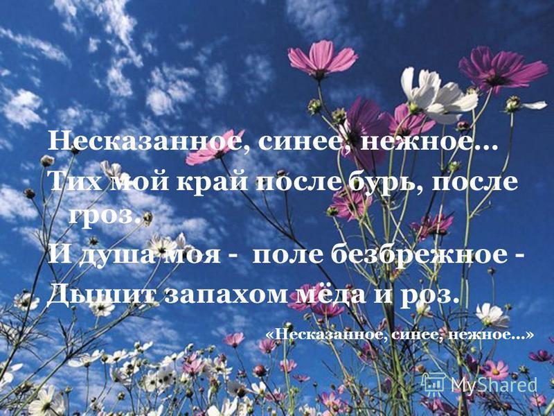 Несказанное, синее, нежное… Тих мой край после бурь, после гроз. И душа моя - поле безбрежное - Дышит запахом мёда и роз. «Несказанное, синее, нежное…»