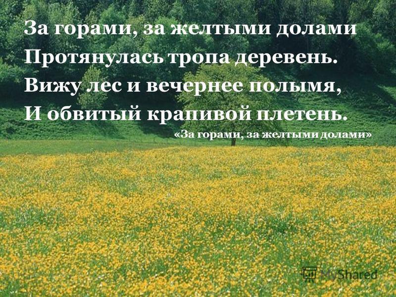 За горами, за желтыми долами Протянулась тропа деревень. Вижу лес и вечернее полымя, И обвитый крапивой плетень. «За горами, за желтыми долами»