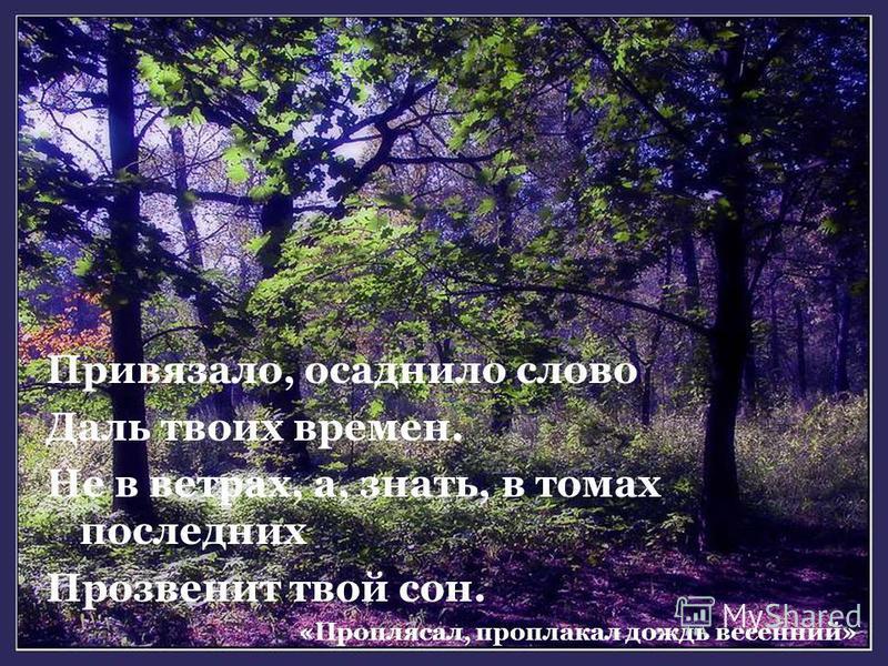 Привязало, осаднило слово Даль твоих времен. Не в ветрах, а, знать, в томах последних Прозвенит твой сон. «Проплясал, проплакал дождь весенний»