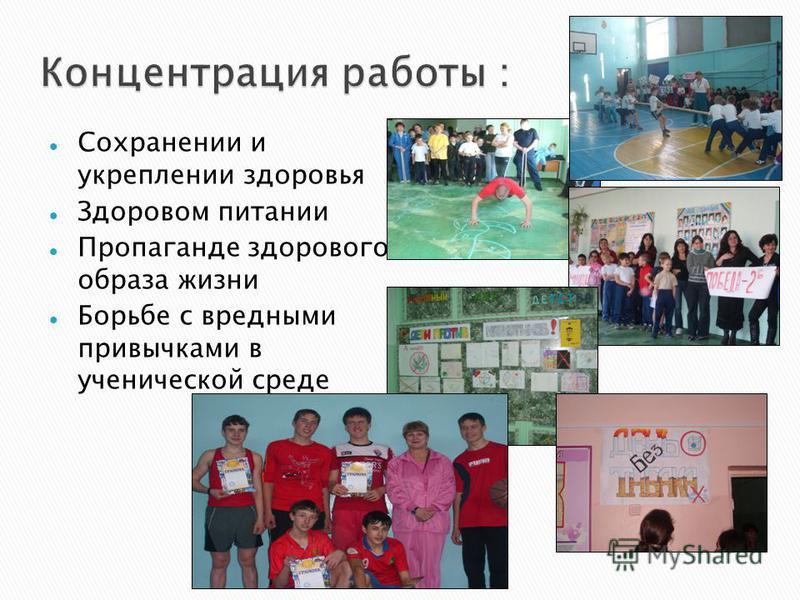 Сохранении и укреплении здоровья Здоровом питании Пропаганде здорового образа жизни Борьбе с вредными привычками в ученической среде