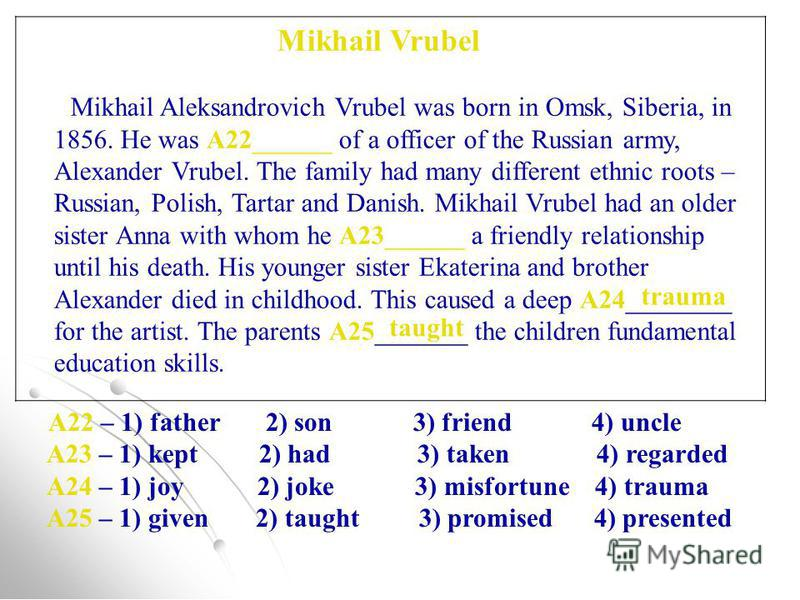 Mikhail Vrubel Mikhail Aleksandrovich Vrubel was born in Omsk, Siberia, in 1856. He was A22______ of a officer of the Russian army, Alexander Vrubel. The family had many different ethnic roots – Russian, Polish, Tartar and Danish. Mikhail Vrubel had