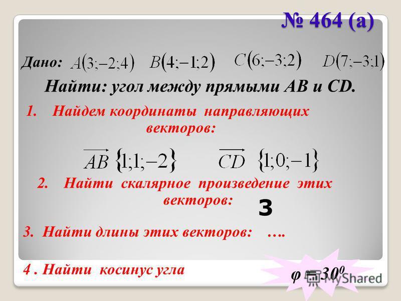 464 (а) 464 (а) Дано: Найти: угол между прямыми АВ и CD. 1. Найдем координаты направляющих векторов: 2. Найти скалярное произведение этих векторов: φ = 30 0 3. Найти длины этих векторов: …. 4. Найти косинус угла 3
