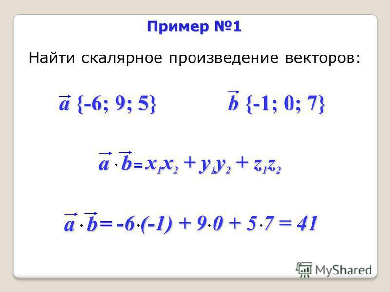 Пример 1 Найти скалярное произведение векторов: a {-6; 9; 5} b {-1; 0; 7} ab = x 1 x 2 + y 1 y 2 + z 1 z 2 ab = -6 (-1) + 9 0 + 5 7 = 41 -6 (-1) + 9 0 + 5 7 = 41