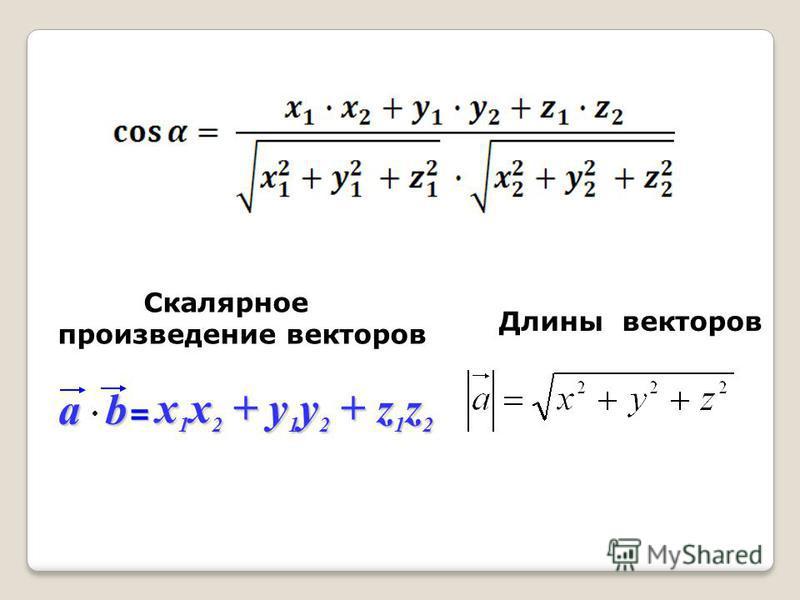 ab = x 1 x 2 + y 1 y 2 + z 1 z 2 Скалярное произведение векторов Длины векторов