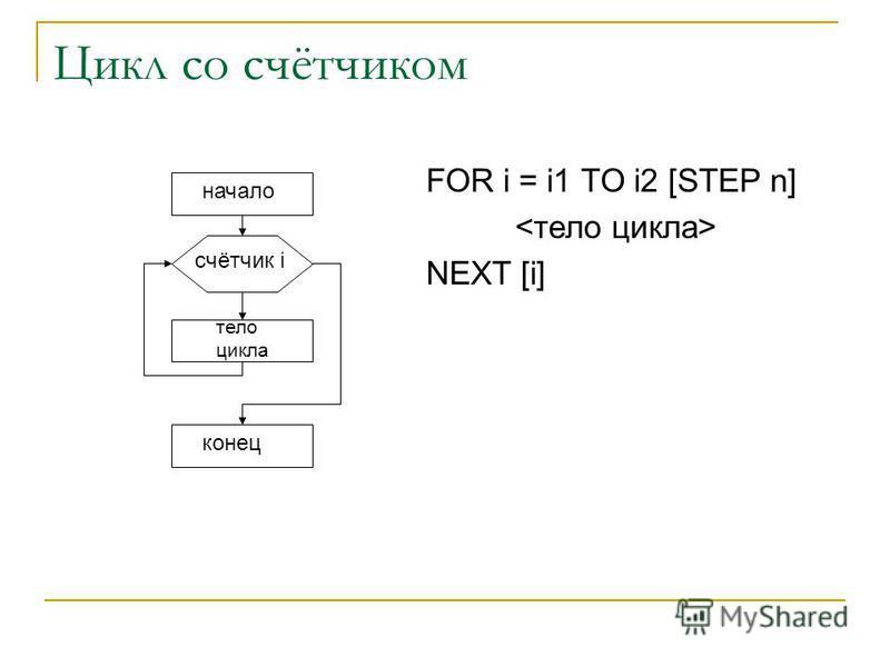 Цикл со счётчиком FOR i = i1 TO i2 [STEP n] NEXT [i] начало счётчик i тело цикла конец