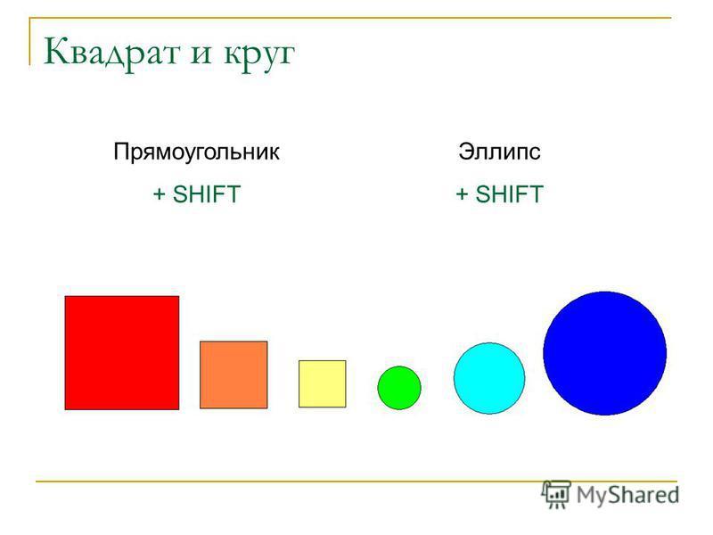 Квадрат и круг Прямоугольник + SHIFT Эллипс + SHIFT