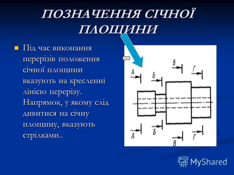 ПОЗНАЧЕННЯ СІЧНОЇ ПЛОЩИНИ Під час виконання перерізів положення січної площини вказують на кресленні лінією перерізу. Напрямок, у якому слід дивитися на січну площину, вказують стрілками.. Під час виконання перерізів положення січної площини вказують