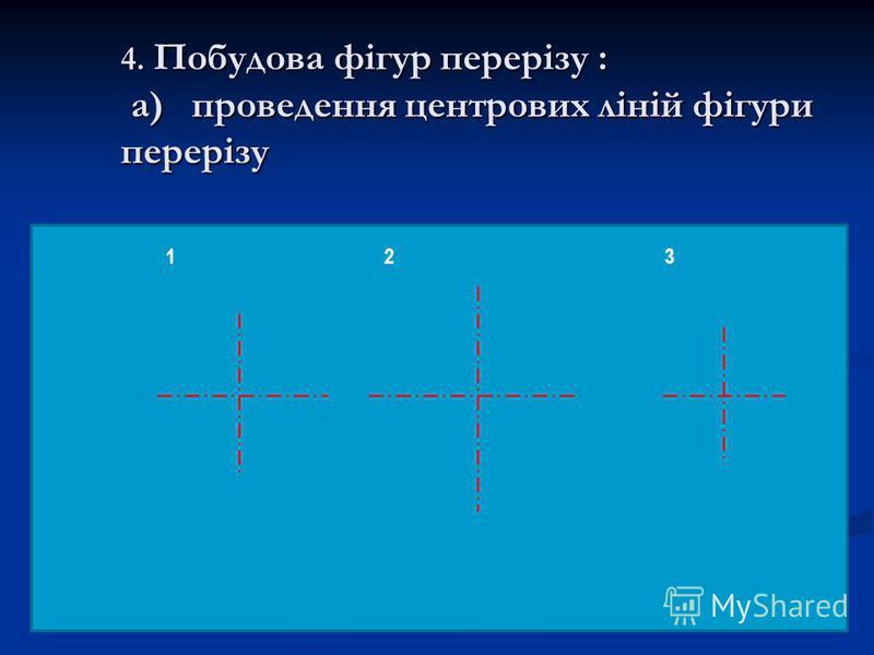 4. Побудова фігур перерізу : а) проведення центрових ліній фігури перерізу 123