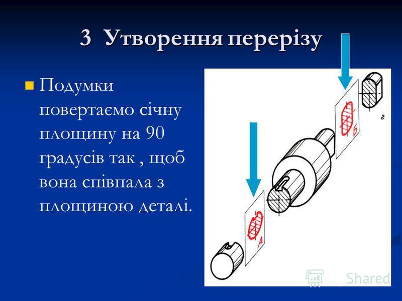 3 Утворення перерізу Подумки повертаємо січну площину на 90 градусів так, щоб вона співпала з площиною деталі.
