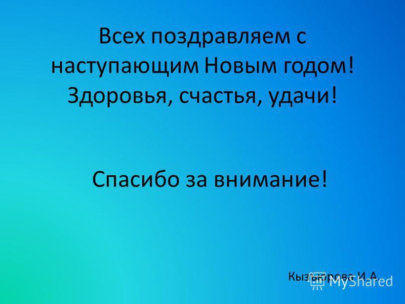 Всех поздравляем с наступающим Новым годом! Здоровья, счастья, удачи! Спасибо за внимание! Кызъюрова И.А.